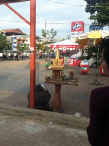 Spirit house outside of a bus station in Siem Riep